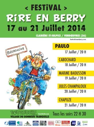 Affiche du Festival Rire en Berry 2014-PROGRAMME